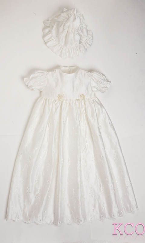 Scallop Christening Gown Ivory